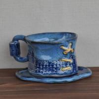 Чашка средняя с блюдцем Джинсовая серия