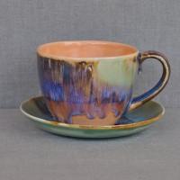 Чашка керамическая с блюдцем 011032A